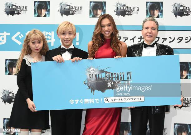PECO RYUCHEL Alexis Ren and Dave Spector attend the promotional event for 'Final Fantasy 15 A New Empire Mobile Edition' at Makuhari Messe on...