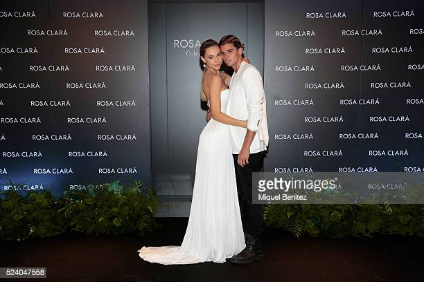 Alexis Ren and Jay Alvarrez pose during a photocall for Rosa Clara Barcelona Bridal Week fitting on April 25, 2016 in Barcelona, Spain.