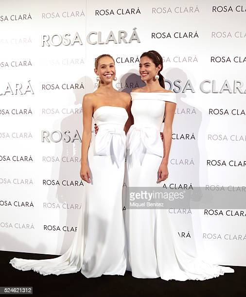 Alexis Ren and Rocio Crusset pose during a photocall for Rosa Clara's bridal fashion show during 'Barcelona Bridal Fashion Week 2016' at Fira...