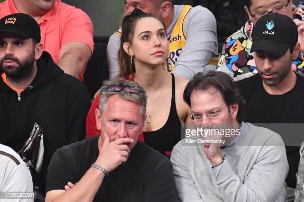 Alexis Ren attends a basketball game between the Los Angeles Lakers and the Philadelphia 76ers at Staples Center on January 29 2019 in Los Angeles...