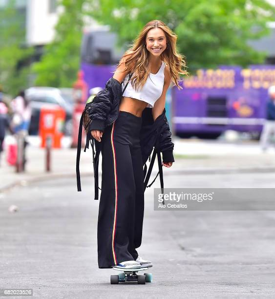 Alexis Ren is seen Skateboarding in Soho on May 11 2017 in New York City