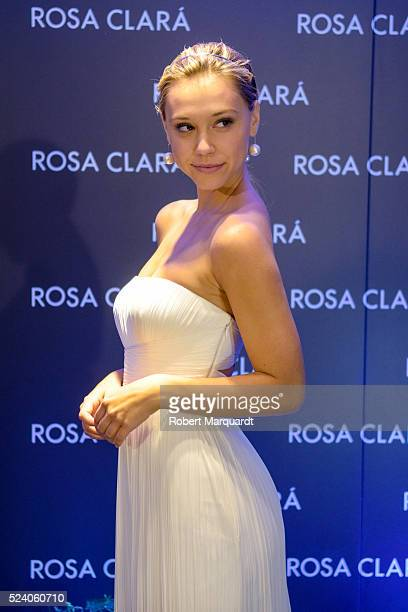 Alexis Ren poses during a photocall for 'Rosa Clara' Barcelona Bridal week fitting on April 25 2016 in Barcelona Spain