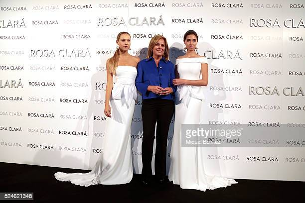 Alexis Ren Rosa Clara and Rocio Crusset pose during a photocall for Rosa Clara's bridal fashion show during 'Barcelona Bridal Fashion Week 2016' at...