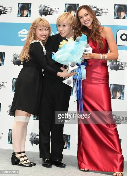 Alexis Ren RYUCHEL and PEKO attend the promotional event for 'Final Fantasy 15 A New Empire Mobile Edition' at Makuhari Messe on September 21 2017 in...