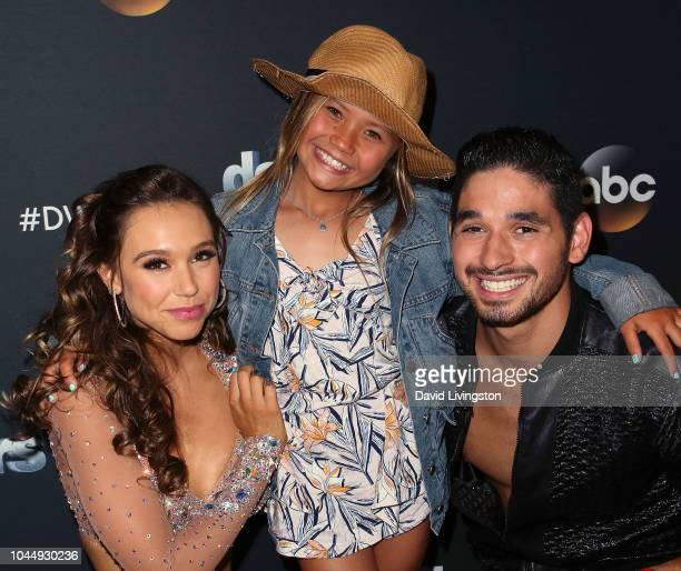 Alexis Ren Sky Brown and Alan Bersten pose at 'Dancing with the Stars' Season 27 at CBS Televison City on October 2 2018 in Los Angeles California