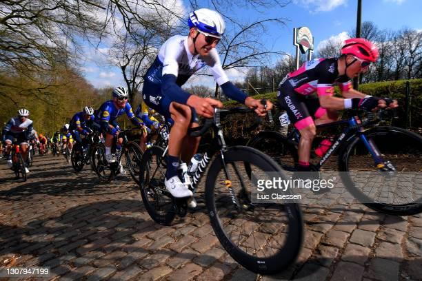Alexis Renard of France and Team Israel Start-Up Nation, Emiel Vermeulen of Belgium and Team Xelliss - Roubaix Lille Metropole & Mark Cavendish of...