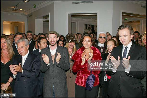 Alexis Roche John Galliano Katia Toledano Karl Lagerfeld Doris Brynner Bernard Arnault at Sidney Toledano Decorated With Legion D' Honneur At A...