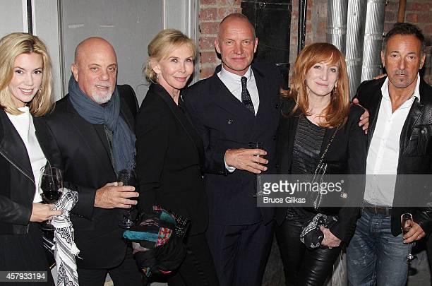 Alexis Roderick boyfriend Billy Joel Trudie Styler husband Sting Patti Scialfa and husband Bruce Springsteen pose backstage at an Opening Night After...