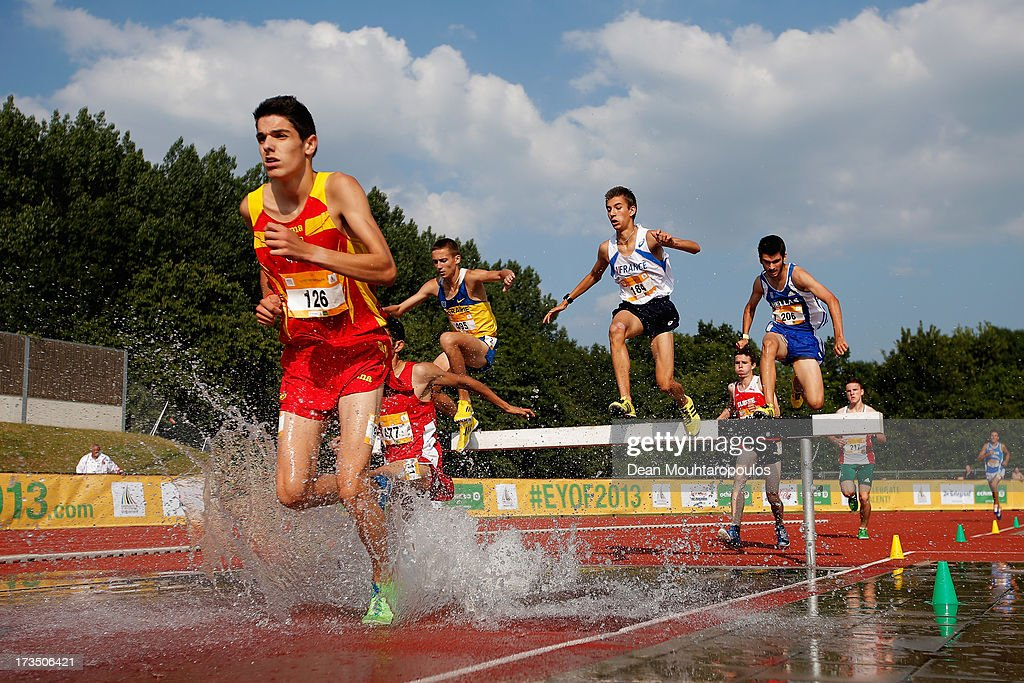 Alexis Rodriguez Coronado (#126) of Spain competes in the 2000m Boys steeple race during the European Youth Olympic Festival held at the Athletics Track Maarschalkersweerd on July 15, 2013 in Utrecht, Netherlands.