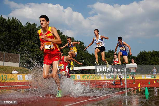 Alexis Rodriguez Coronado of Spain competes in the 2000m Boys steeple race during the European Youth Olympic Festival held at the Athletics Track...