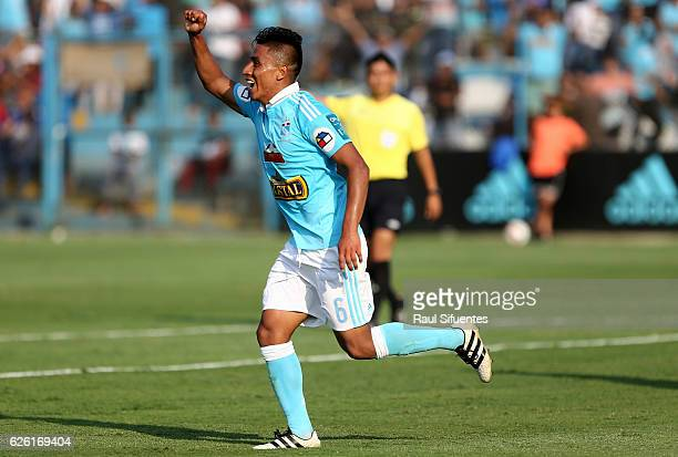 Alexis Rojas of Sporting Cristal celebrates after scoring the third goal of his team against FBC Melgar during a match between Sporting Cristal and...