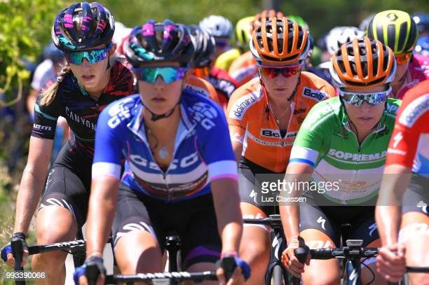Alexis Ryan of The United States and Team Canyon SRAM Racing / Amy Pieters of The Netherlands and Boels Dolmans Cycling Team / KarolAnn Canuel of...