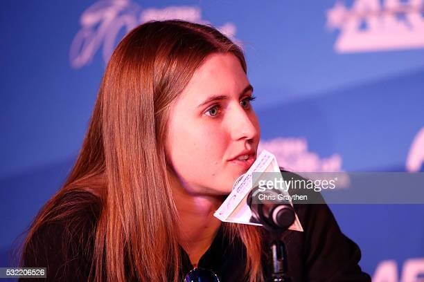 Alexis Ryan of the United States riding for Canyon/SRAM Racing addresses the media during a press conference at Harveys Lake Tahoe Hotel and Casino...