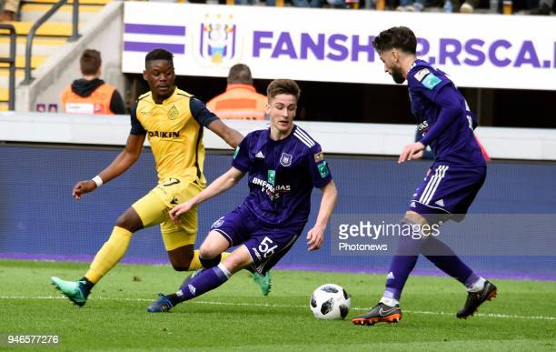 Alexis Saelemaekers midfielder of RSC Anderlecht and Anthony Limbombe forward of Club Brugge pictured during the Jupiler Pro League PlayOff 1 match...
