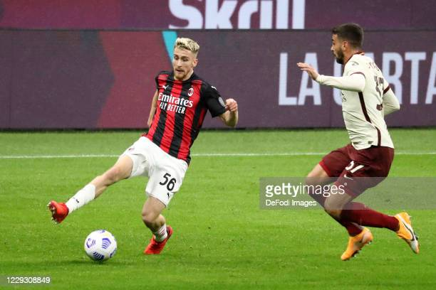 Alexis Saelemaekers of AC Milan controls the ball during the Serie A match between AC Milan and AS Roma at Stadio Giuseppe Meazza on October 26 2020...