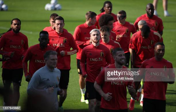 """Alexis Saelemaekers of Belgium during a training session of the Belgian national soccer team """" The Red Devils """" ahead of the upcoming FIFA World Cup..."""