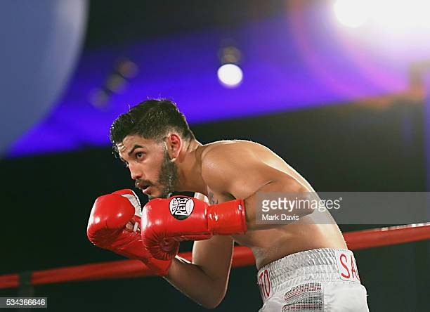 Alexis Salazar boxes at the B Riley Co and Sugar Ray Leonard Foundation's 7th Annual Big Fighters Big Cause Charity Boxing Night at Dolby Theatre on...
