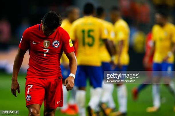 Alexis Sanches of Brazil reacts during the match between Brazil and Chile for the 2018 FIFA World Cup Russia Qualifier at Allianz Parque Stadium on...