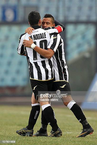 Alexis Sanchez and Antonio di Natale of Udinese Calcio celebrate after scoring a goal during the Serie A match between Udinese and Chievo at Stadio...