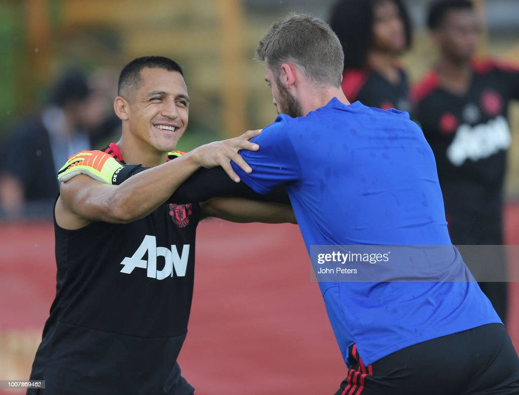 Alexis Sanchez and David de Gea of Manchester United in action during a training session as part of their pre-season tour of the USA at Barry University on July 30, 2018 in Miami, Florida.