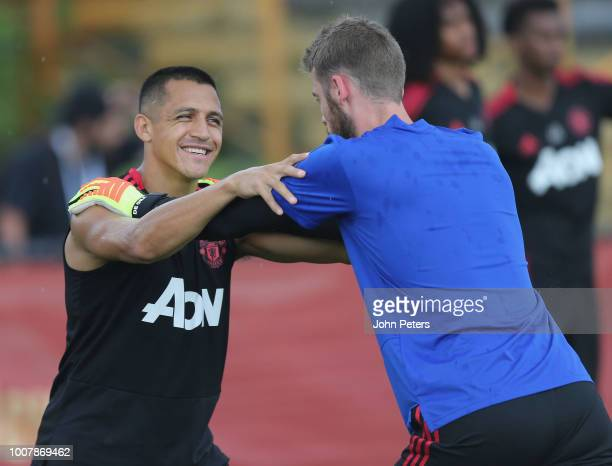 Alexis Sanchez and David de Gea of Manchester United in action during a training session as part of their preseason tour of the USA at Barry...