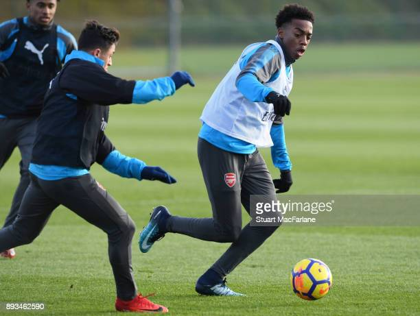 Alexis Sanchez and Joe Willock of Arsenal during a training session at London Colney on December 15 2017 in St Albans England