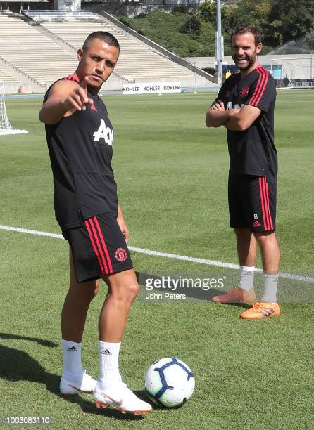 Alexis Sanchez and Juan Mata of Manchester United in action during a first team training session as part of their preseason tour of the USA at UCLA...