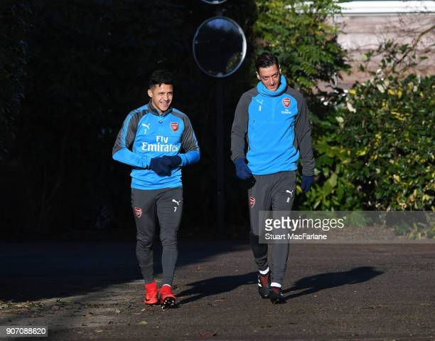 Alexis Sanchez and Mesut Ozil of Arsenal before a training session at London Colney on January 19 2018 in St Albans England