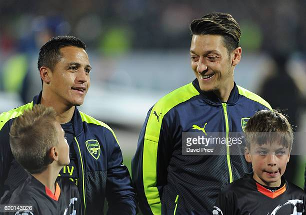 Alexis Sanchez and Mesut Ozil of Arsenal before the UEFA Champions League match between PFC Ludogorets Razgrad and Arsenal FC at Vasil Levski...