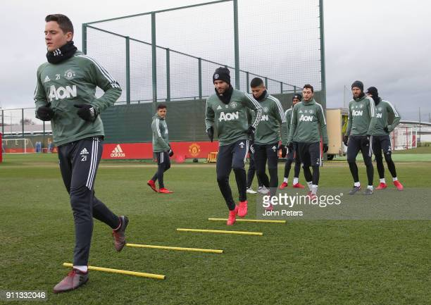 Alexis Sanchez Ander Herrera Michael Carrick and Marcos Rojo of Manchester United in action during a first team training session at Aon Training...