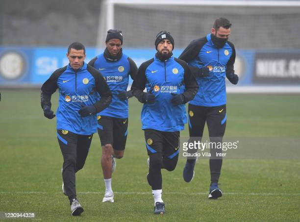 Alexis Sanchez, Ashley Young, Arturo Vidal and Stefan de Vrij of FC Internazionale in action during a training session at Appiano Gentile on February...