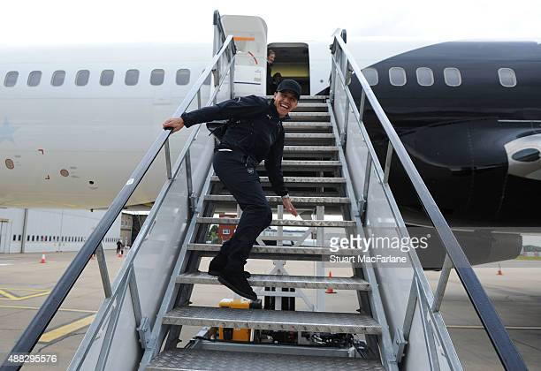 Alexis Sanchez at Luton Airport as the Arsenal squad travel to Zagreb ahead of their UEFA Champions League match against Dinamo Zagreb on September...