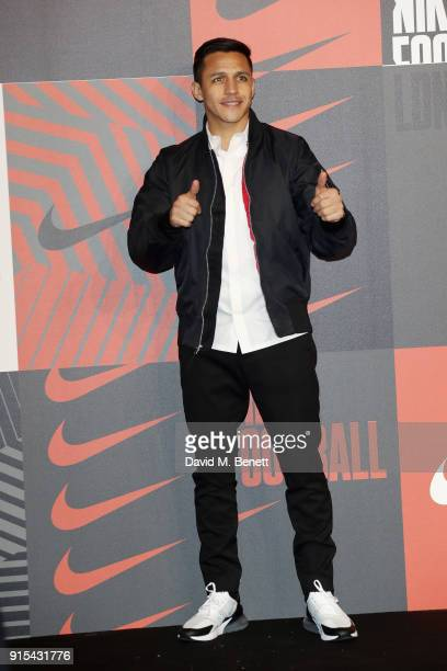 Alexis Sanchez attends in celebration of the 20th anniversary of Nike's most iconic football boot some of the world's best footballers arrive in...
