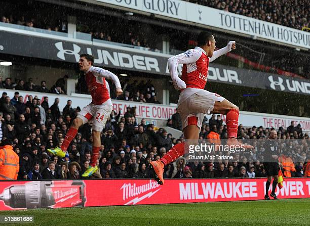 Alexis Sanchez celbrates scoring the nd Arsenal goal with Hector Bellerin during the Barclays Premier League match between Tottenham Hotspur and...