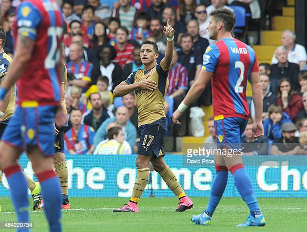 Alexis Sanchez celebrates Arsenal's 2nd goal during the Barclays Premier League match between Crystal Palace and Arsenal on August 16 2015 in London...