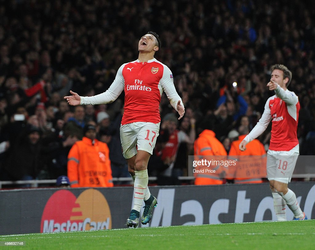 Alexis Sanchez celebrates scoring his 1st goal, Arsenal's 2nd, during the match between Arsenal and Dinamo Zagreb in the UEFA Champions League on November 24, 2015 in London, United Kingdom.