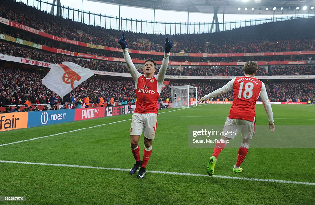 Alexis Sanchez celebrates scoring the 2nd Arsenal goal during the Premier League match between Arsenal and Burnley at Emirates Stadium on January 22, 2017 in London, England.