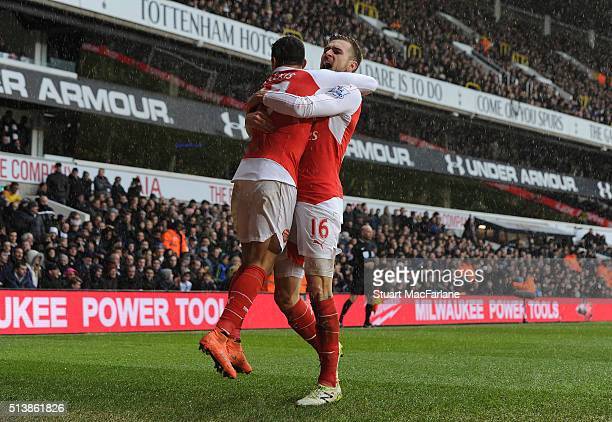 Alexis Sanchez celebrates scoring the 2nd Arsenal goal with Aaron Ramsey during the Barclays Premier League match between Tottenham Hotspur and...