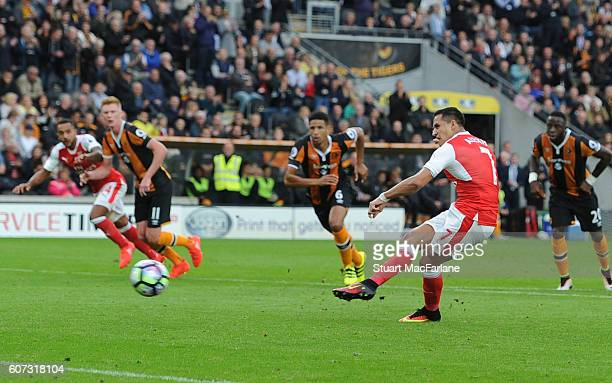 Alexis Sanchez has his penalty saved by Hull goalkeeper Eldin Jakupovic during the Premier League match between Hull City and Arsenal at KCOM Stadium...