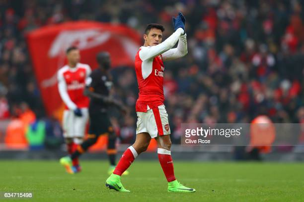 Alexis Sanchez of Arsenal applauds supporters after his side's 20 win in the Premier League match between Arsenal and Hull City at Emirates Stadium...