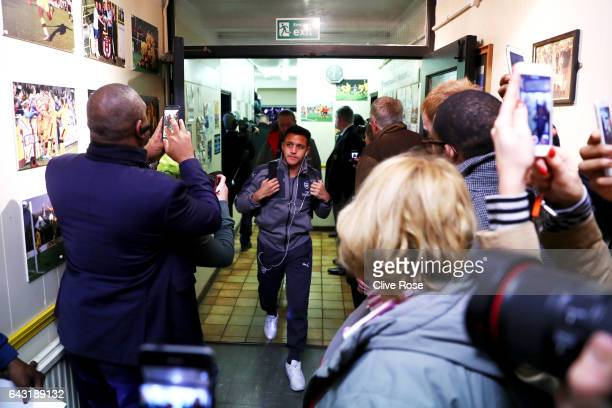 Alexis Sanchez of Arsenal arrives at the stadium for the Emirates FA Cup fifth round match between Sutton United and Arsenal on February 20 2017 in...