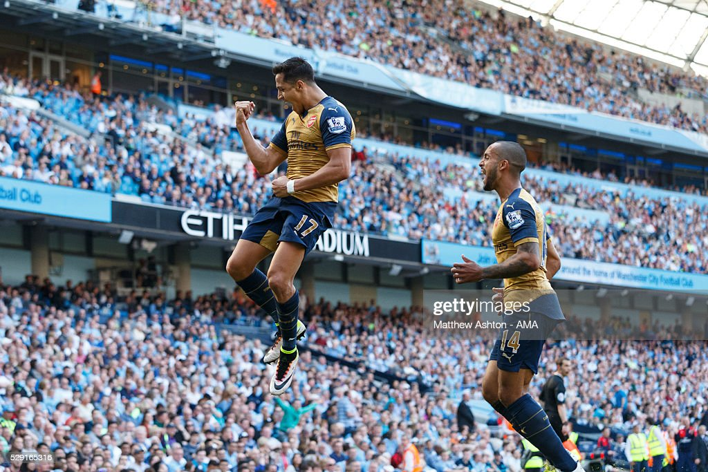 Alexis Sanchez of Arsenal celebrates after scoring a goal to make it 2-2 during the Barclays Premier League match between Manchester City and Arsenal at the Ethiad Stadium on May 1, 2016 in Manchester, United Kingdom.