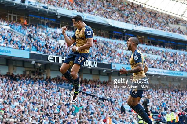 Alexis Sanchez of Arsenal celebrates after scoring a goal to make it 22 during the Barclays Premier League match between Manchester City and Arsenal...