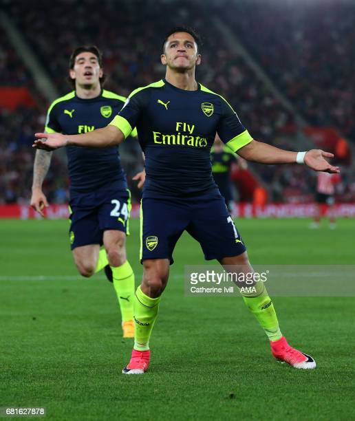 Alexis Sanchez of Arsenal celebrates after scoring to make it 01 during the Premier League match between Southampton and Arsenal at St Mary's Stadium...