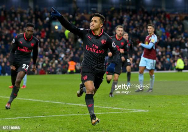 Alexis Sanchez of Arsenal celebrates scoiring the first goal during the Premier League match between Burnley and Arsenal at Turf Moor on November 26...
