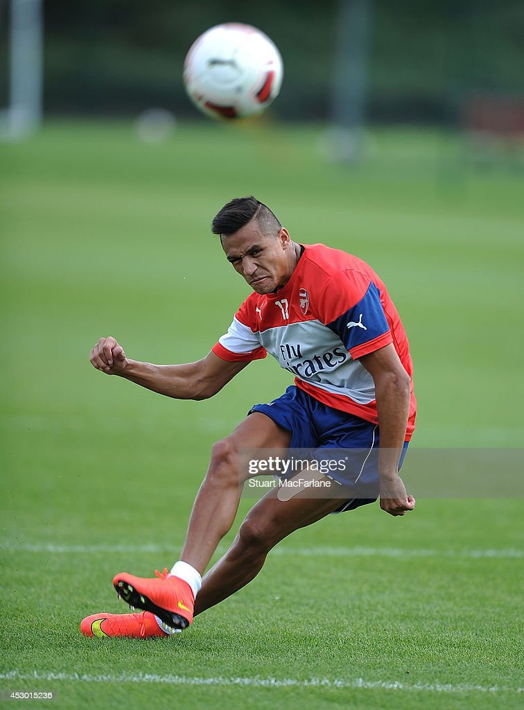 Alexis Sanchez of Arsenal during a training session at London Colney on August 1, 2014 in St Albans, England.