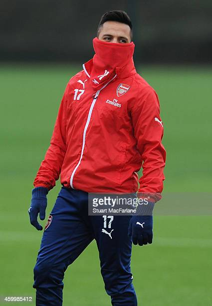 Alexis Sanchez of Arsenal during a training session at London Colney on December 5 2014 in St Albans England