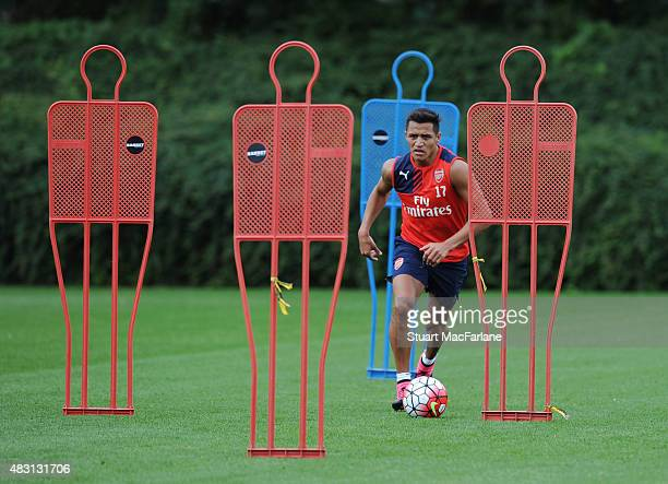 Alexis Sanchez of Arsenal during a training session at London Colney on August 6 2015 in St Albans England