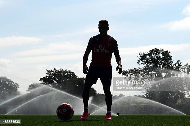 Alexis Sanchez of Arsenal during a training session at London Colney on August 8 2015 in St Albans England