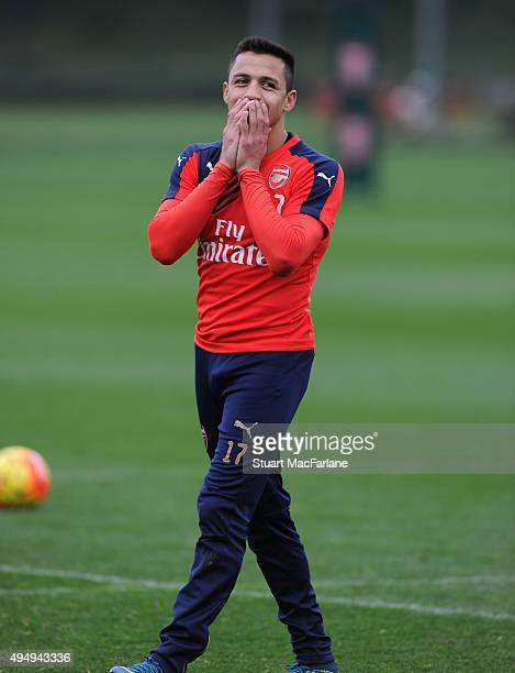Alexis Sanchez of Arsenal during a training session at London Colney on October 30 2015 in St Albans England